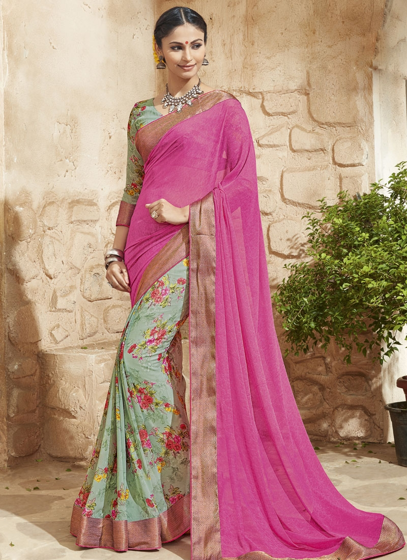 Preferable Lace Work Rose Pink Color Half N Half Party Wear Saree