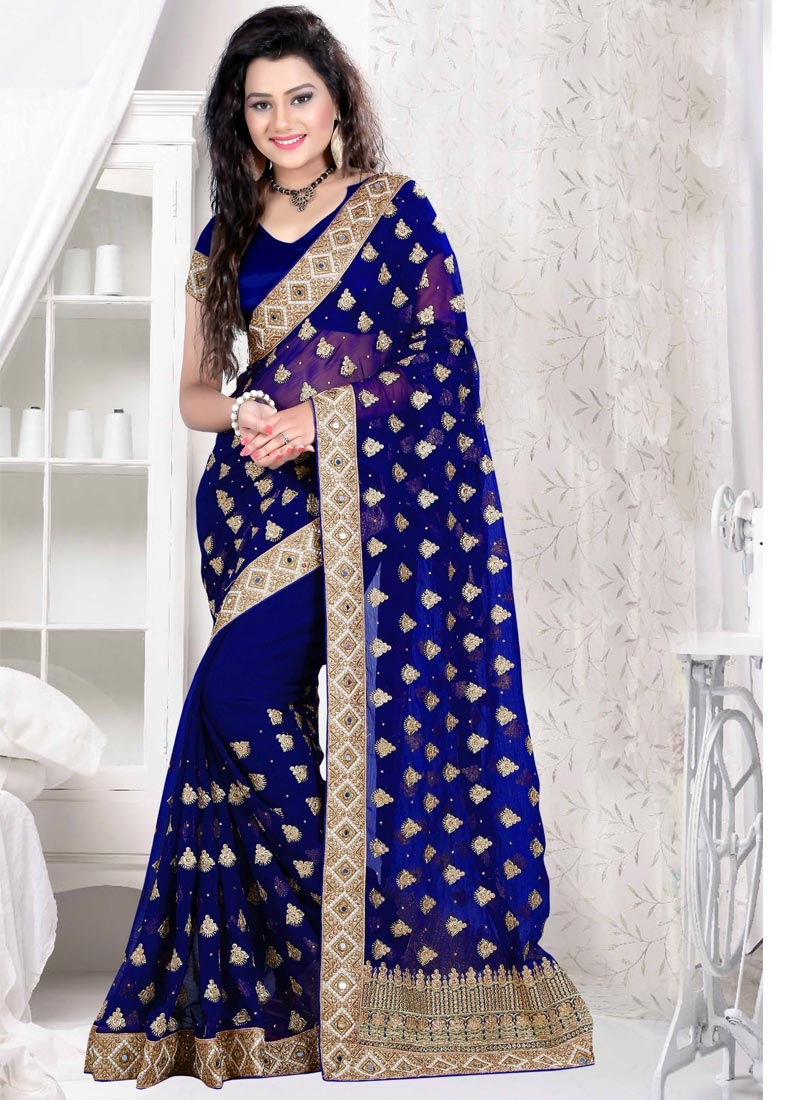 Preferable Mirror And Lace Work Designer Saree