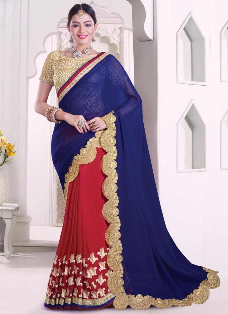 Preferable Mirror And Resham Work Half N Half Designer Saree