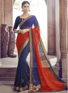 Preferable Navy Blue and Red Trendy Classic Saree