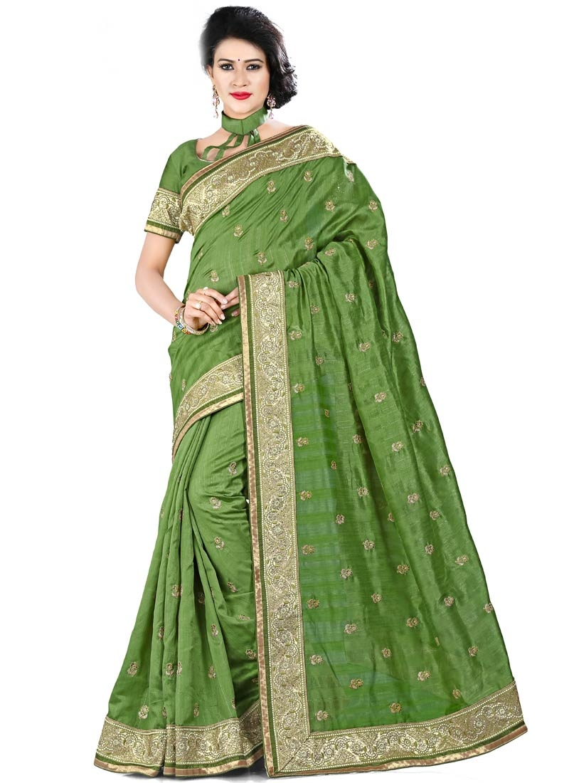 Preferable Olive Color Bhagalpuri Silk Party Wear Saree