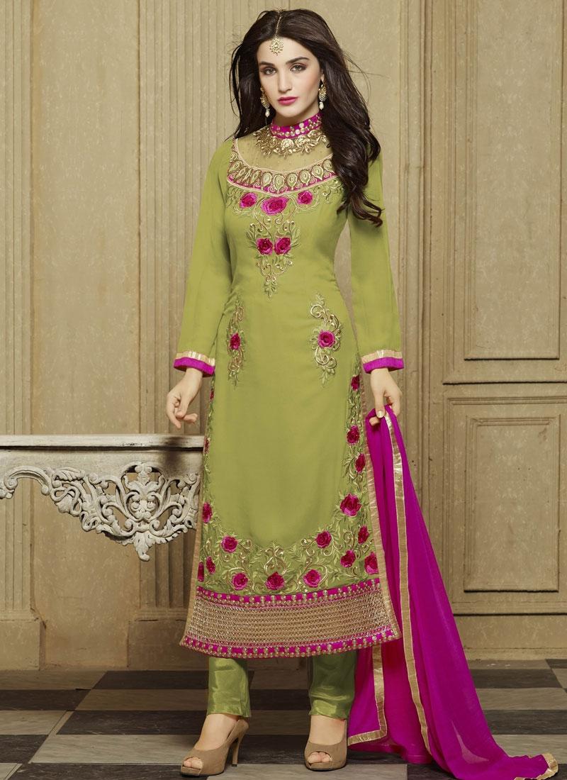Preferable Olive Color Party Wear Salwar Kameez