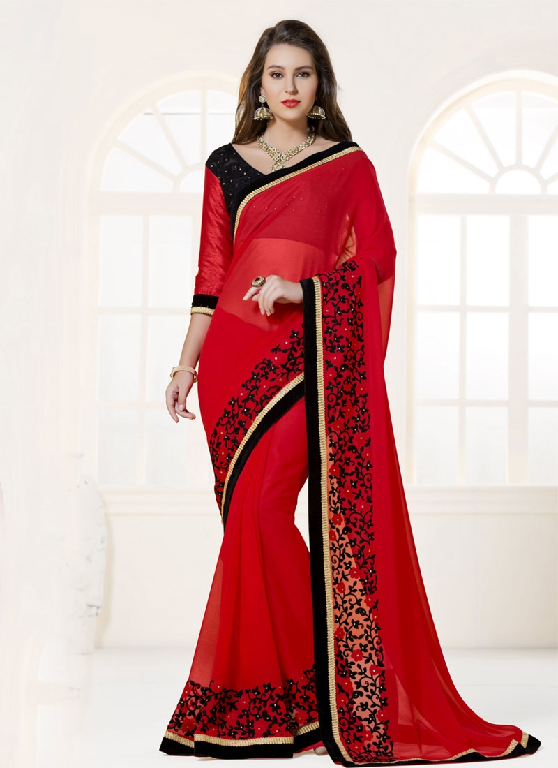 Preferable Resham And Stone Work Party Wear Saree