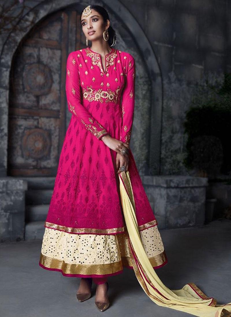 Preferable Rose Pink Color Ankle Length Wedding Salwar Suit