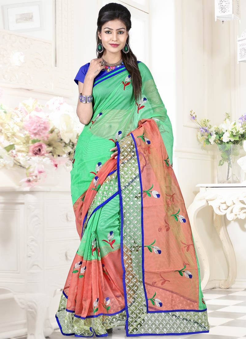 Preferable Salmon Color Resham Work Party Wear Saree