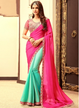 Preferable Satin Silk Rose Pink and Turquoise Half N Half Trendy Saree