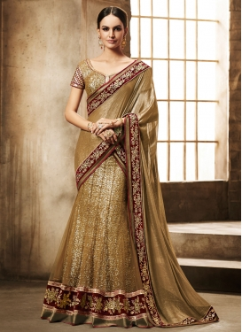 Preferable Sequins Work Wedding Lehenga Saree