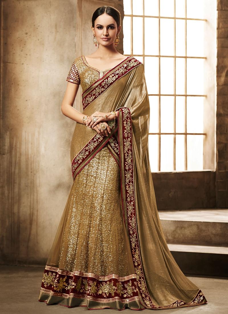 Preferable Sequins Work Wedding Lehenga Saree