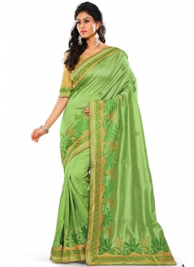 Preferable Silk Mint Green Color Party Wear Saree