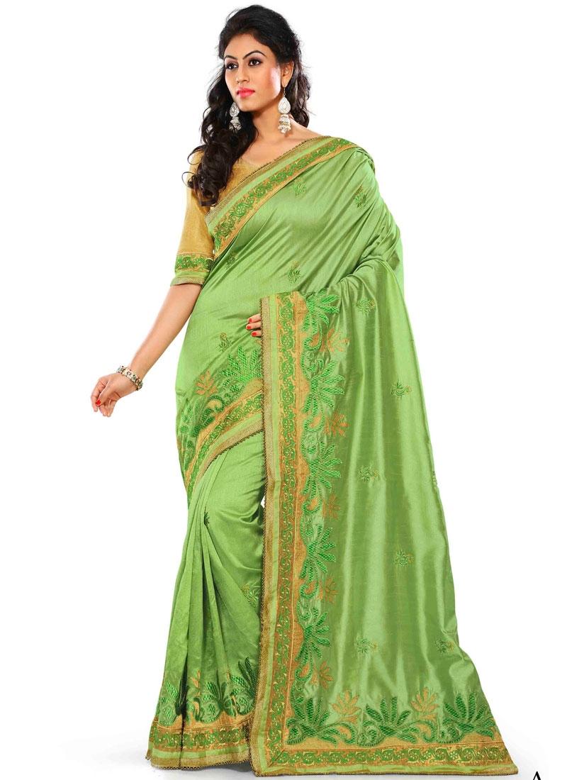 Preferable Silk Mint Green Color Party Wear Saree