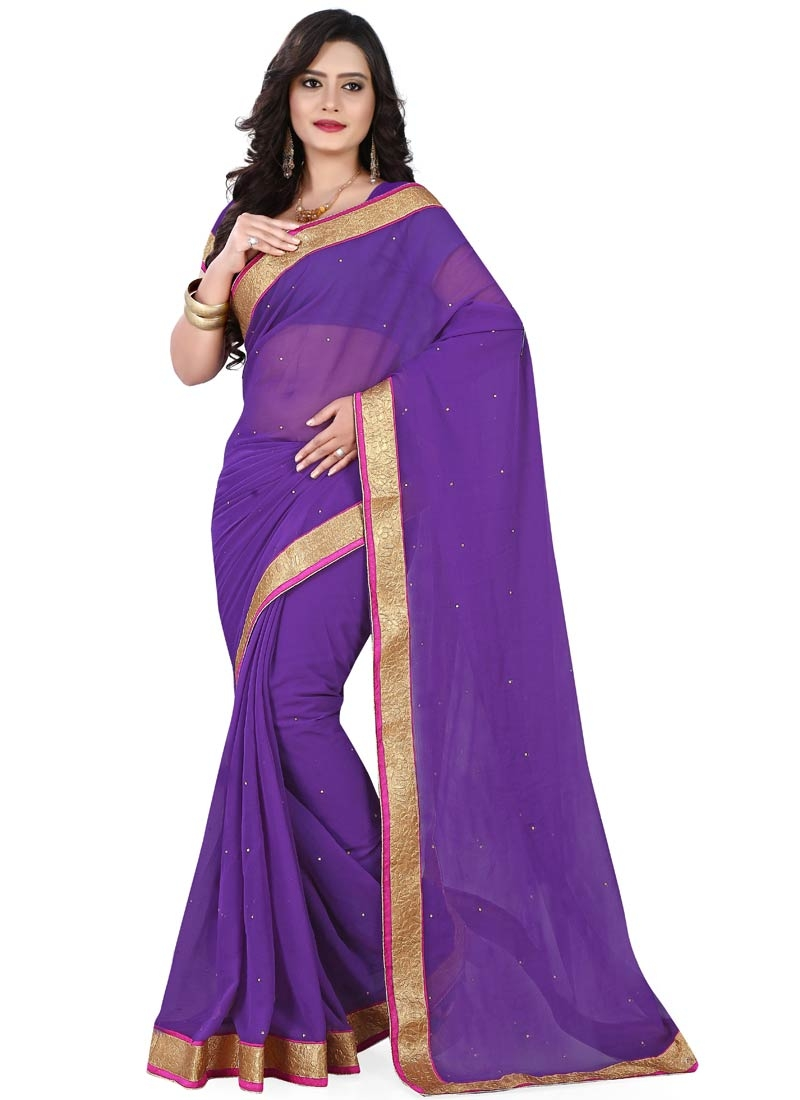 Preferable Stone Work Faux Chiffon Casual Saree