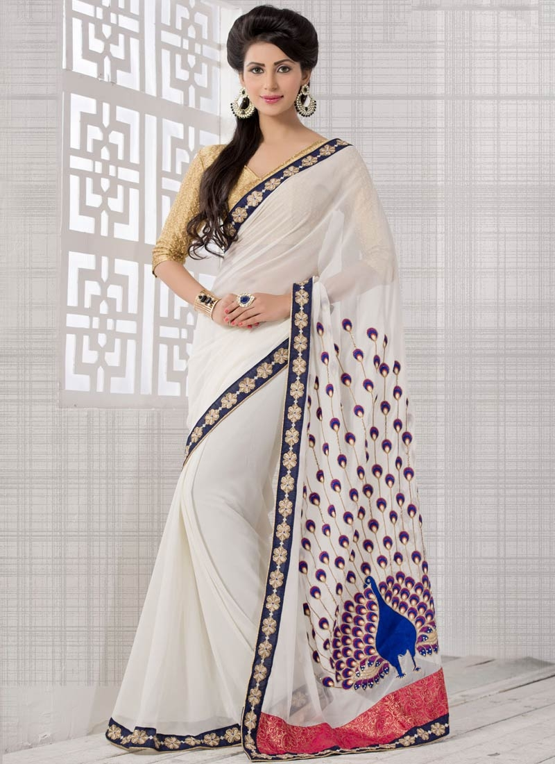 Preferable White Color Beads Work Party Wear Saree
