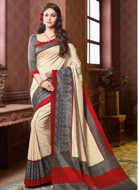 Prepossessing Art Silk Cream Color Party Wear Saree
