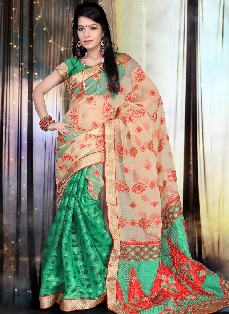 Prepossessing Beige And Green Color Half N Half Party Wear Saree