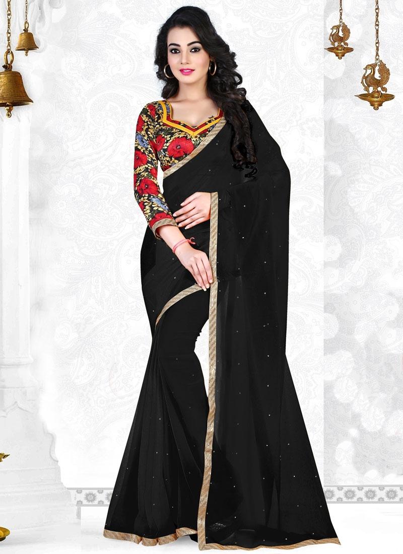 Prepossessing Black Color Casual Saree