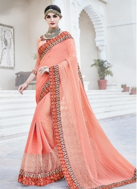 Prepossessing Embroidered Work Chiffon Satin Designer Contemporary Style Saree For Festival