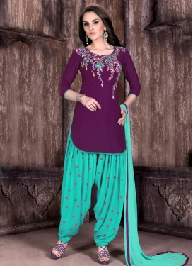 Prepossessing  Embroidered Work Designer Semi Patiala Suit For Ceremonial