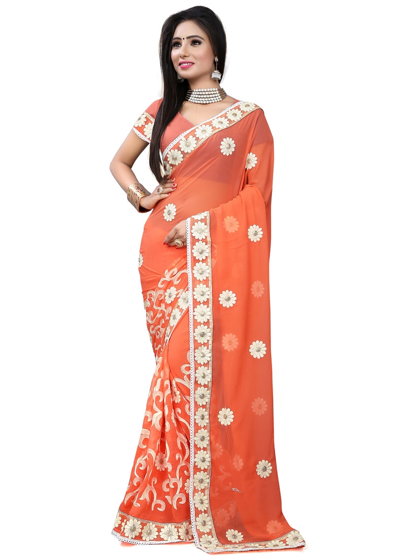 Prepossessing Embroidery Work Party Wear Saree