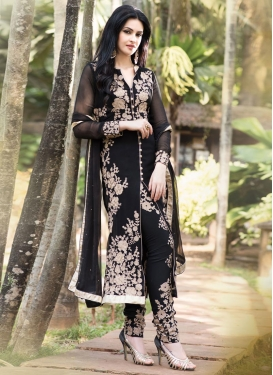 Prepossessing Faux Georgette Embroidered Work Pant Style Designer Salwar Kameez