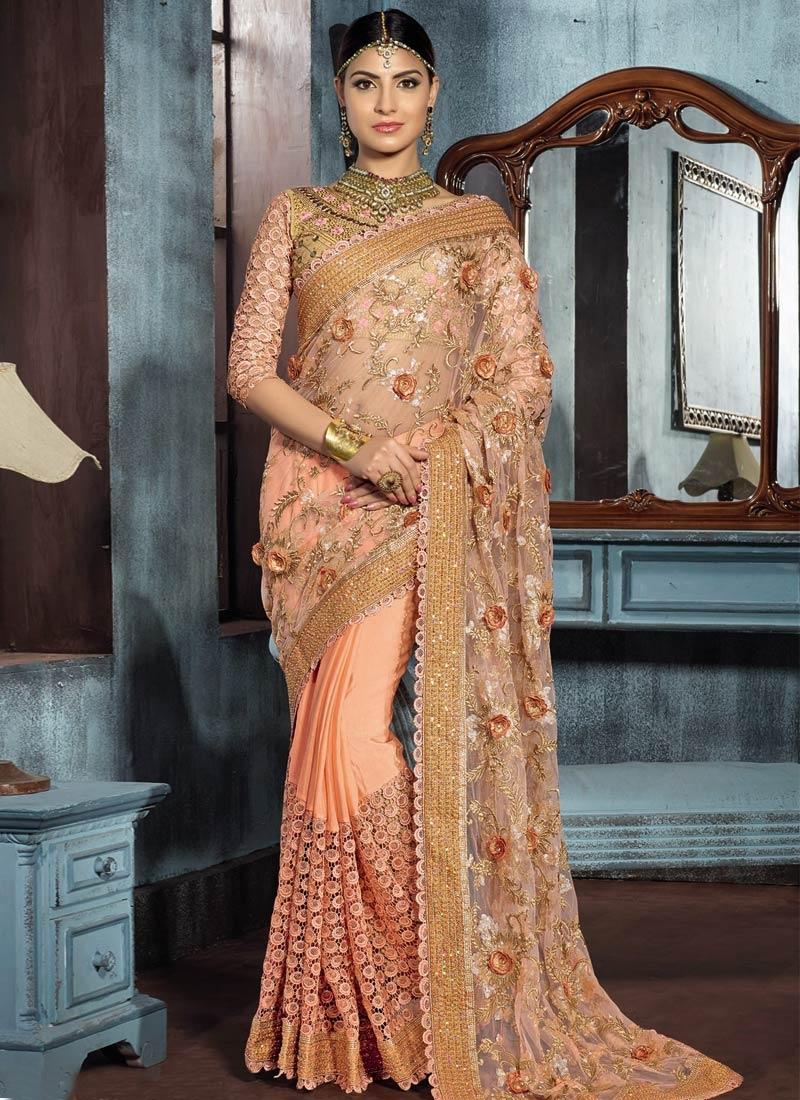 Prepossessing Floral Work Net Bridal Saree