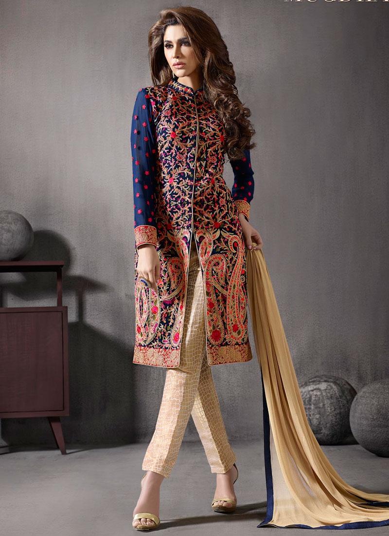 Prepossessing Floral Work Pant Style Designer Salwar Kameez