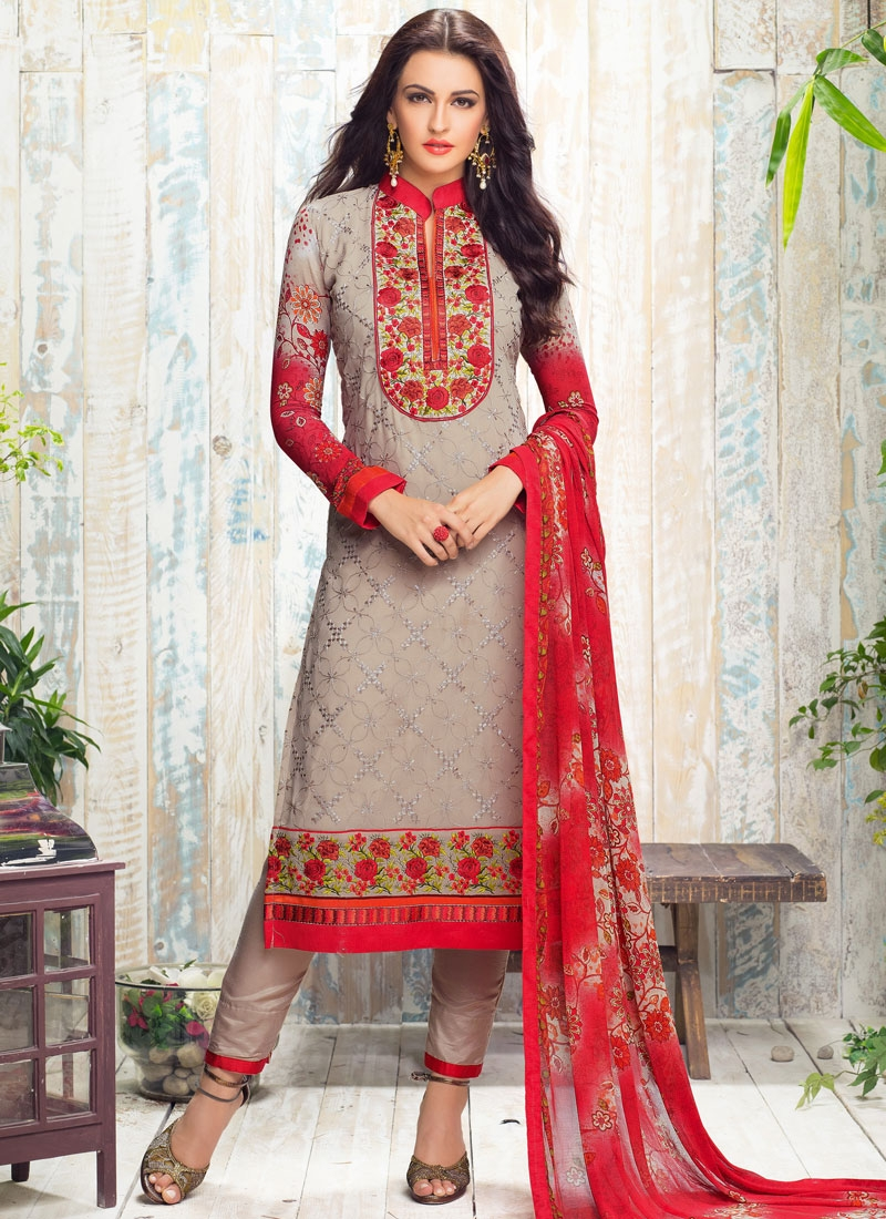 Prepossessing Floral Work Pant Style Party Wear Salwar Suit