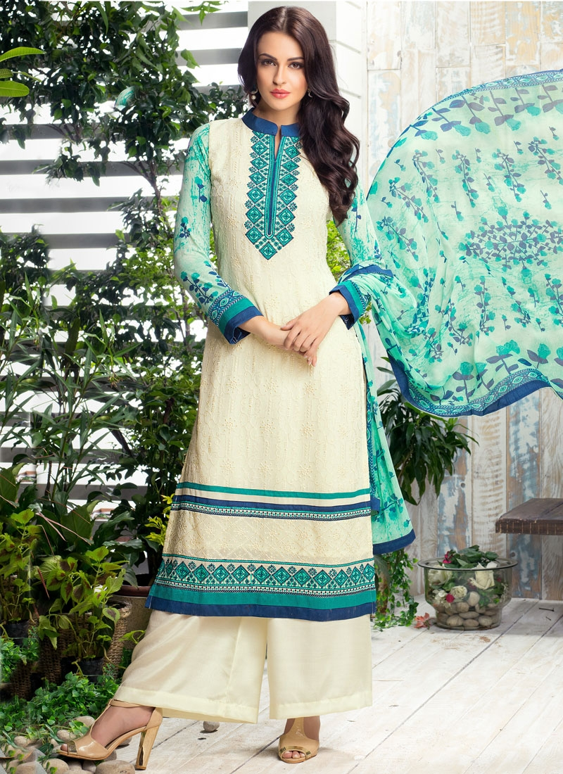 Prepossessing Lace Work Palazzo Style Pakistani Salwar Suit