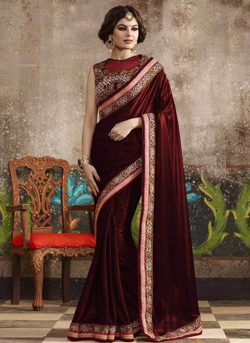 Prepossessing Lycra Lace Work Party Wear Saree