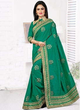 Prepossessing Mirror And Patch Border Work Designer Saree