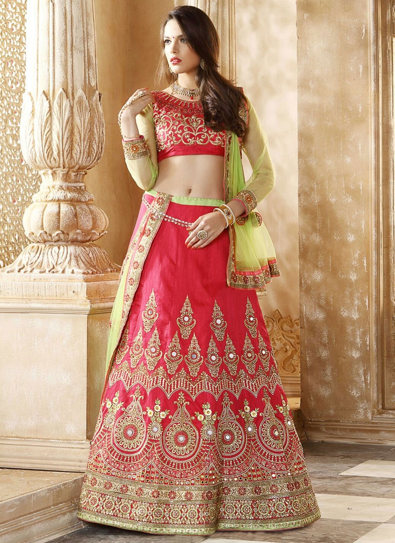 Prepossessing Mirror Work Bridal Lehenga Choli