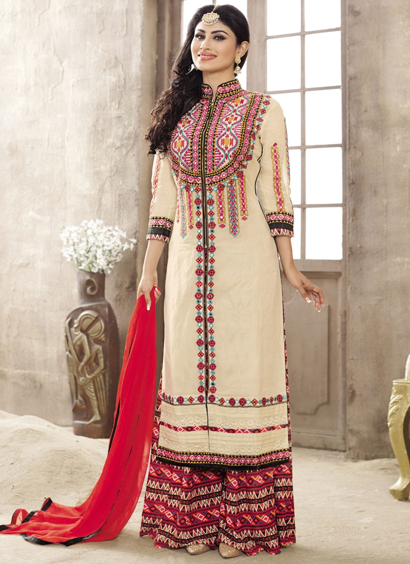 Prepossessing Mirror Work Mouni Roy Palazzo Style Party Wear Suit
