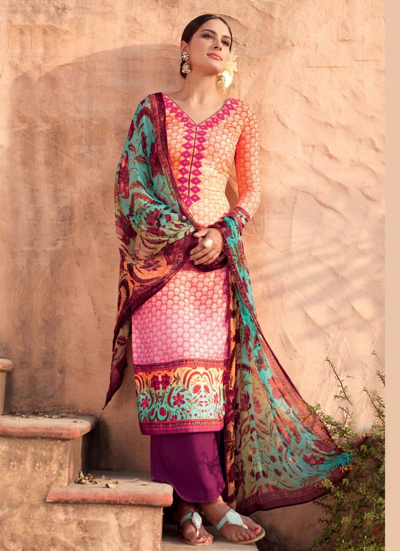 Prepossessing Peach Color Palazzo Style Pakistani Suit