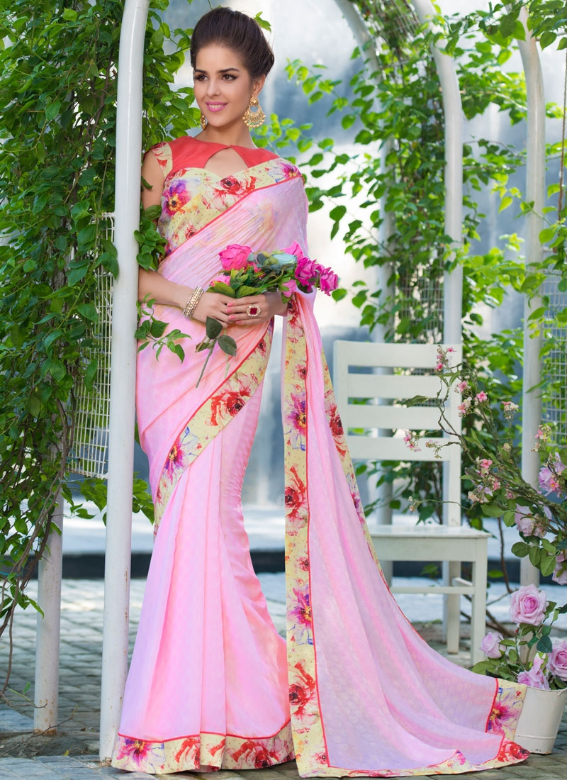 Prepossessing Pink Color Lace Work Party Wear Saree