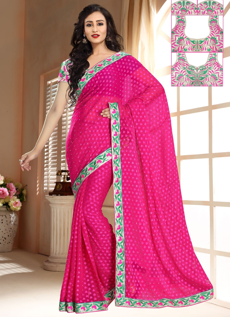 Prepossessing Resham And Lace Work Casual Saree