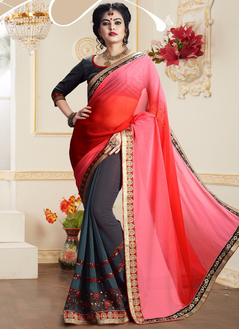 Prepossessing Resham Work Grey Color Half N Half Party Wear Saree
