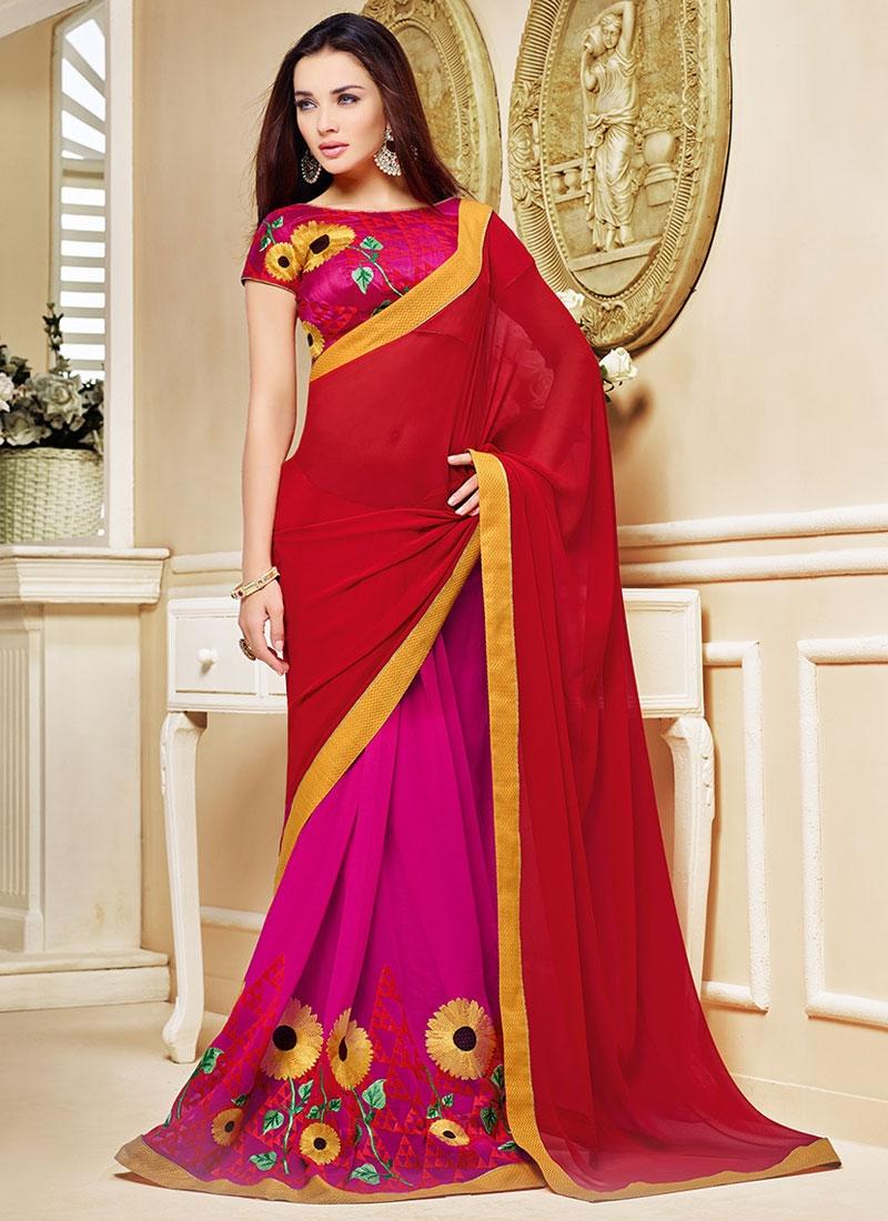 Prepossessing Resham Work Half N Half Party Wear Saree