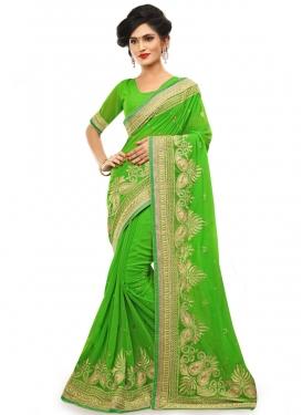 Prepossessing Resham Work Mint Green Color Designer Saree