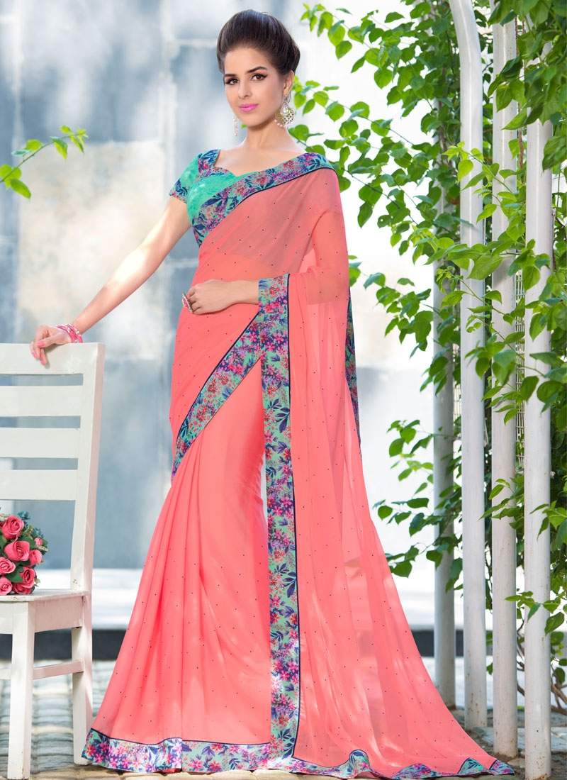 Prepossessing Stone Work Salmon Color Party Wear Saree