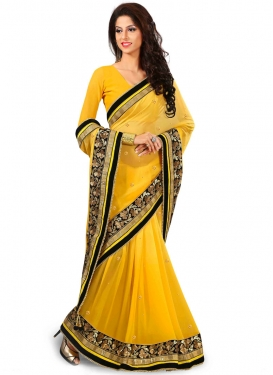 Prepossessing Viscose Beads Work Designer Saree