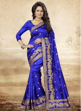 Pretty Art Silk Embroidered Work Traditional Saree