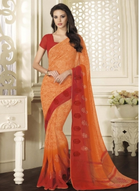 Pretty Booti Work Faux Georgette Classic Saree For Ceremonial