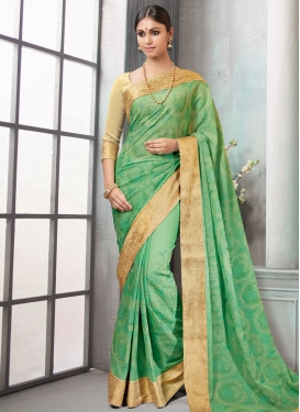 Pretty Faux Chiffon Chicken Work Trendy Classic Saree