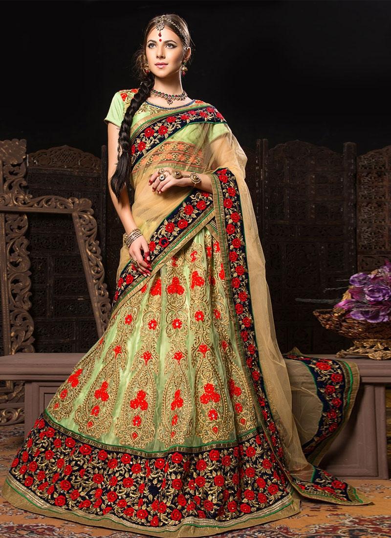 Pretty Floral And Stones Work Bridal Lehenga Choli