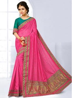 Pretty Jute Silk Embroidered Work Trendy Classic Saree