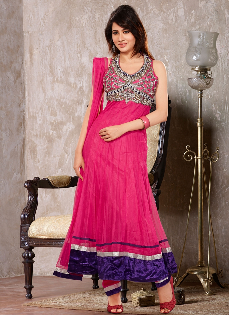 Pretty Lace Work Readymade Anarkali Suit