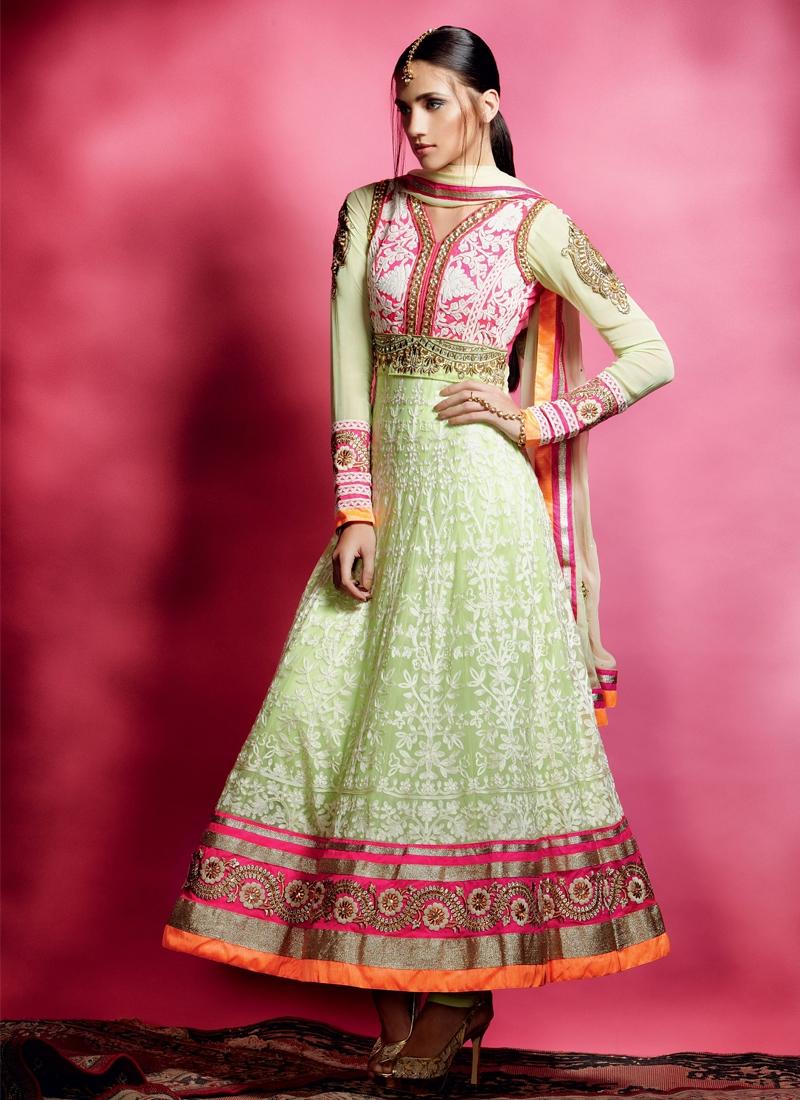 Pretty Mint Green Net Anarkali Salwar Kameez