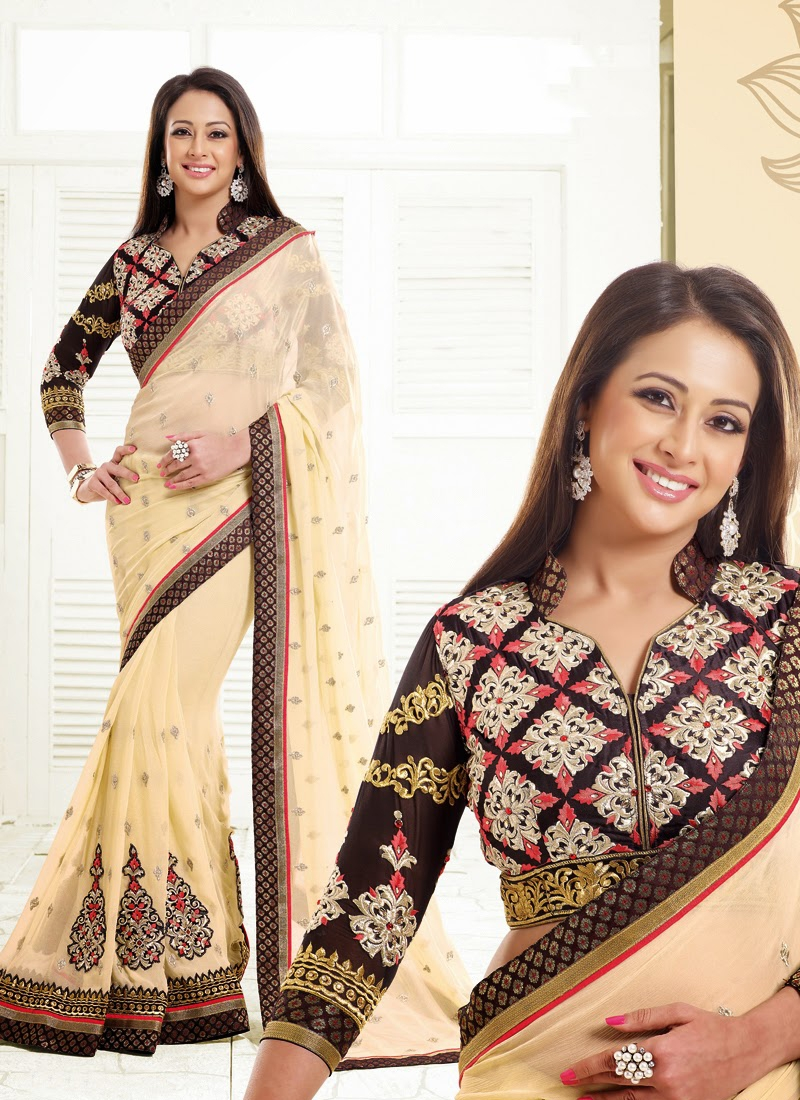 Pretty Multi Work Preeti Jhangiani Bollywood Saree