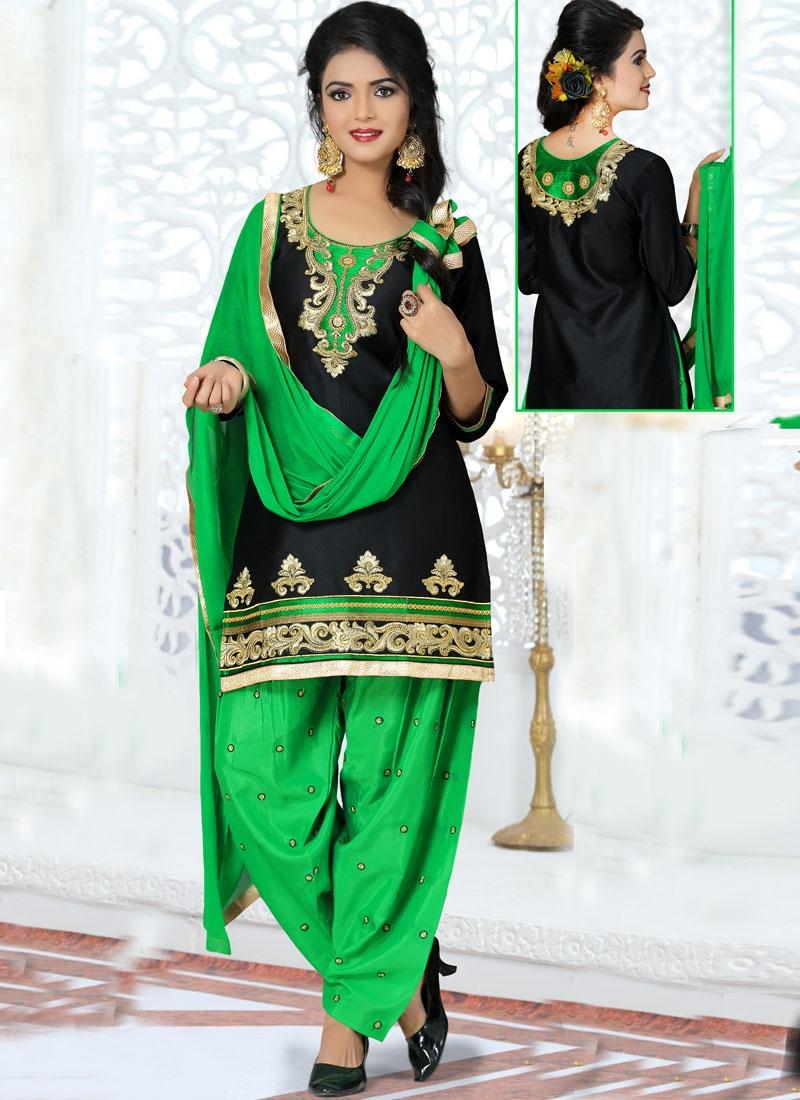 Pretty Resham Work Patiala Style Punjabi Suit