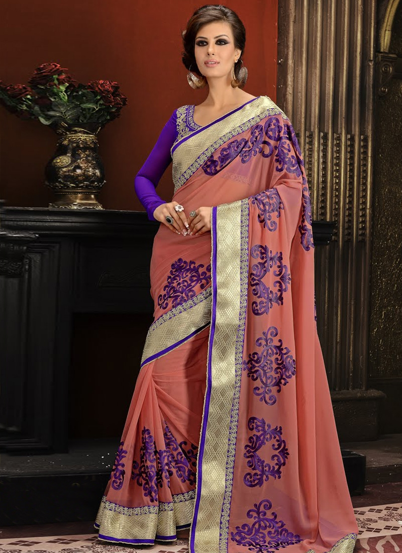 Pretty Salmon Color Resham Work Party Wear Saree