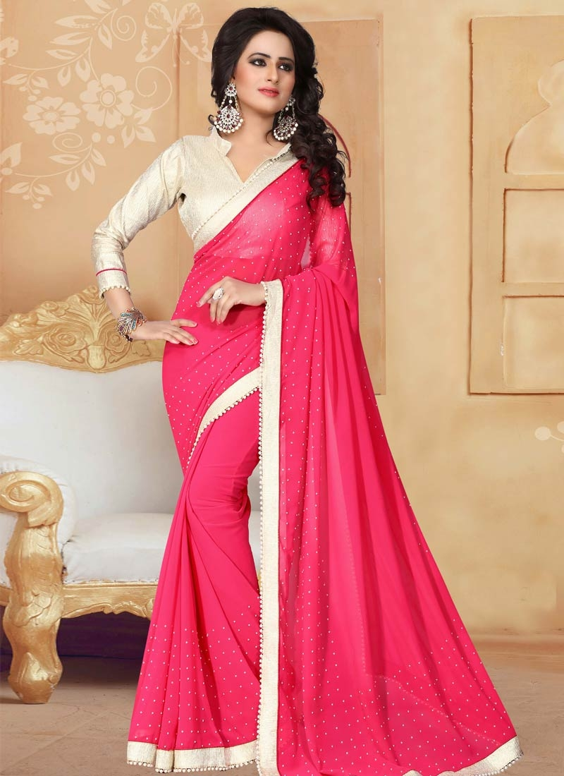 Prime Beads Work Faux Georgette Rose Pink Color Party Wear Saree
